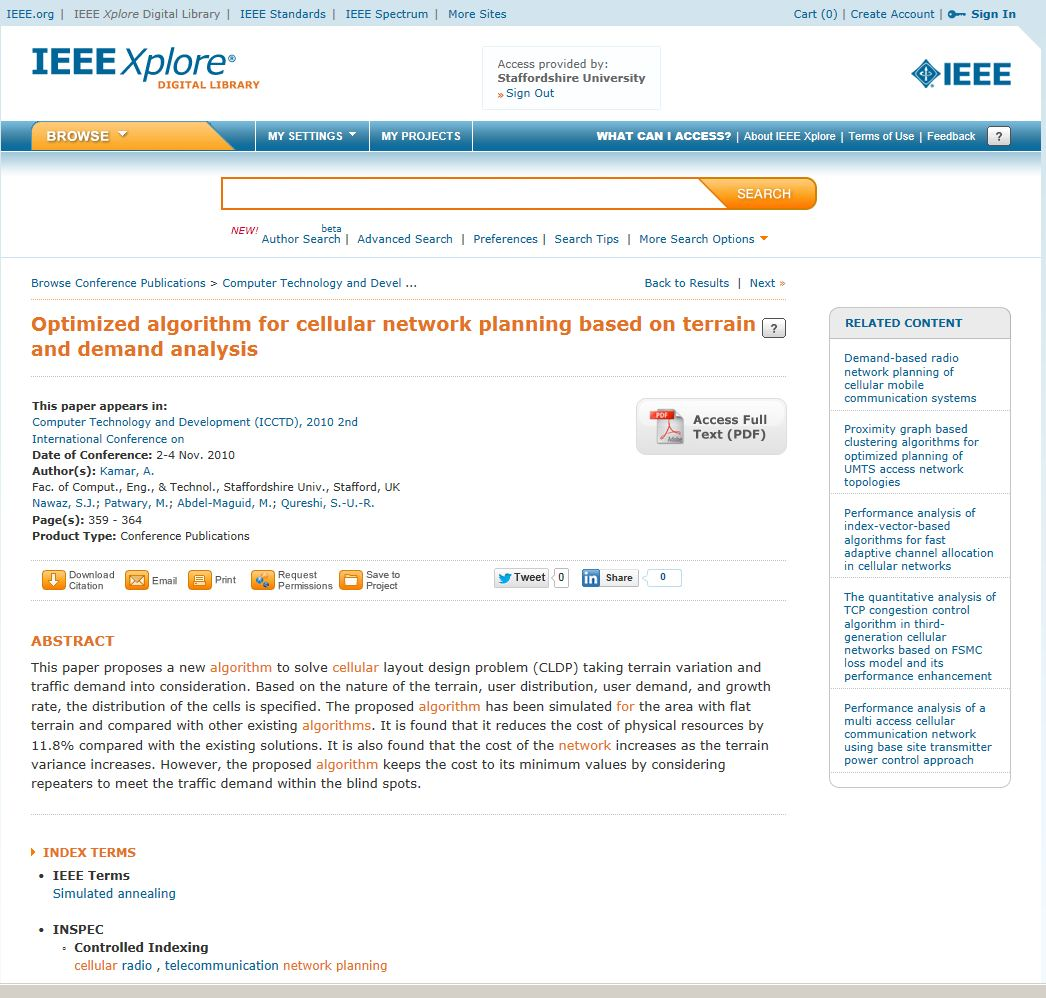 Optimized algorithm for cellular network planning based on